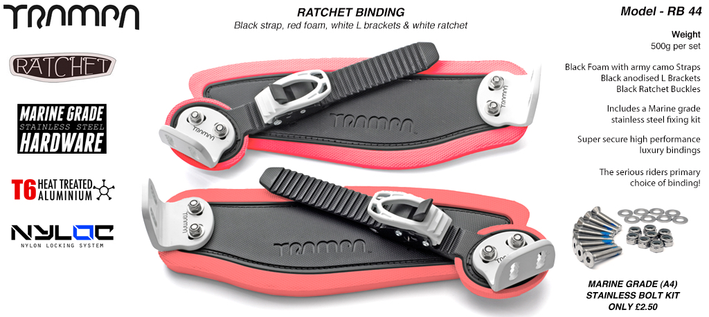Ratchet Bindings - Black straps on Red foam with White L Brackets & Ratchets
