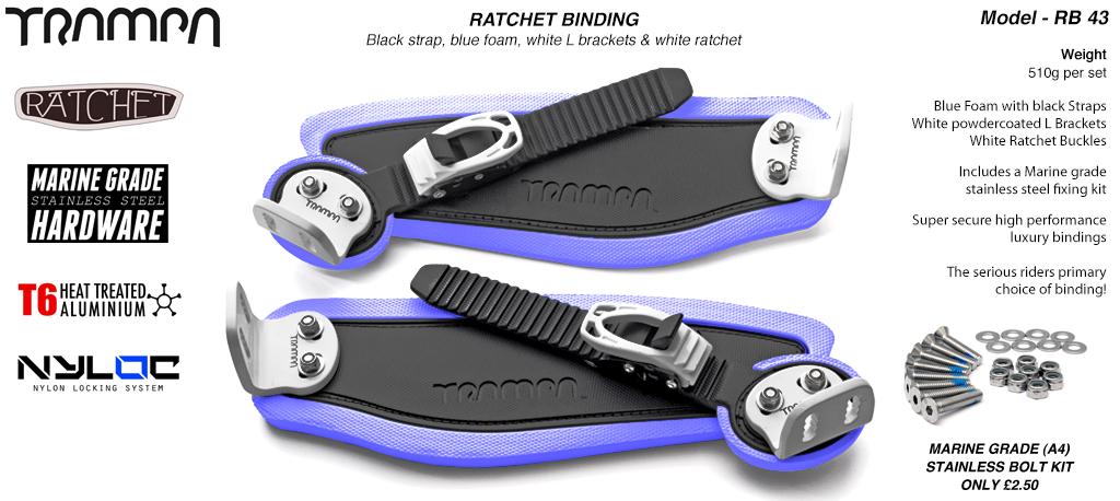 Ratchet Bindings - Black straps on Blue Foam with White L Brackets & Ratchets