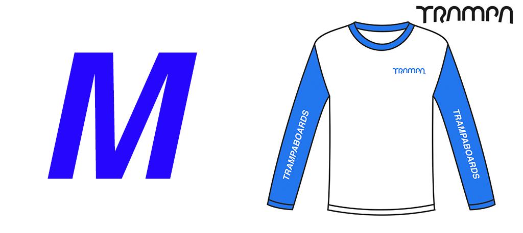 Fruits of the Loom Long Sleeve Race Shirt Blue & White - Medium
