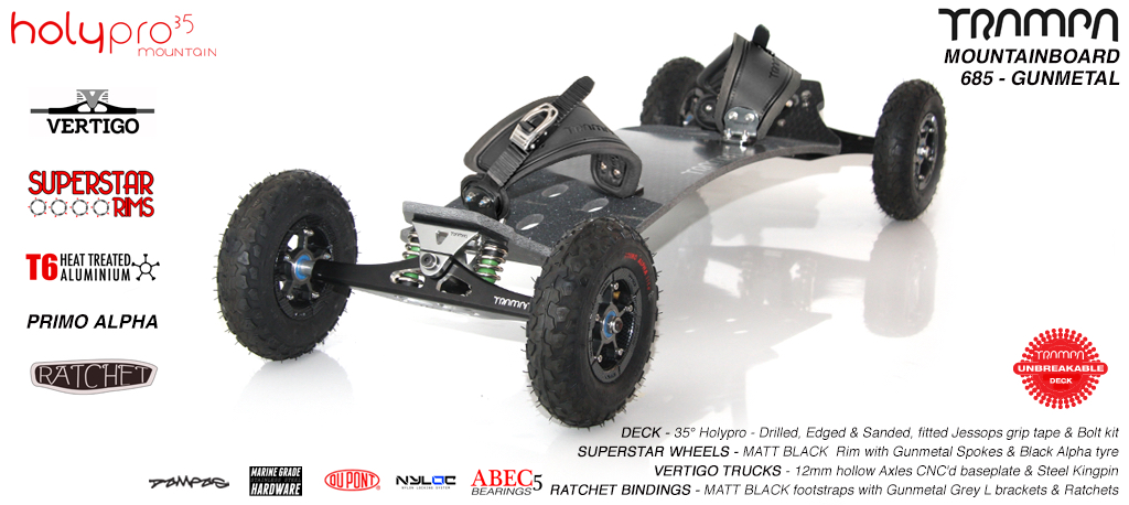 35º HOLYPRO TRAMPA on VERTIGO truck SUPERSTAR Wheel & RATCHET Binding - 685 GUNMETAL MOUNTAINBOARD
