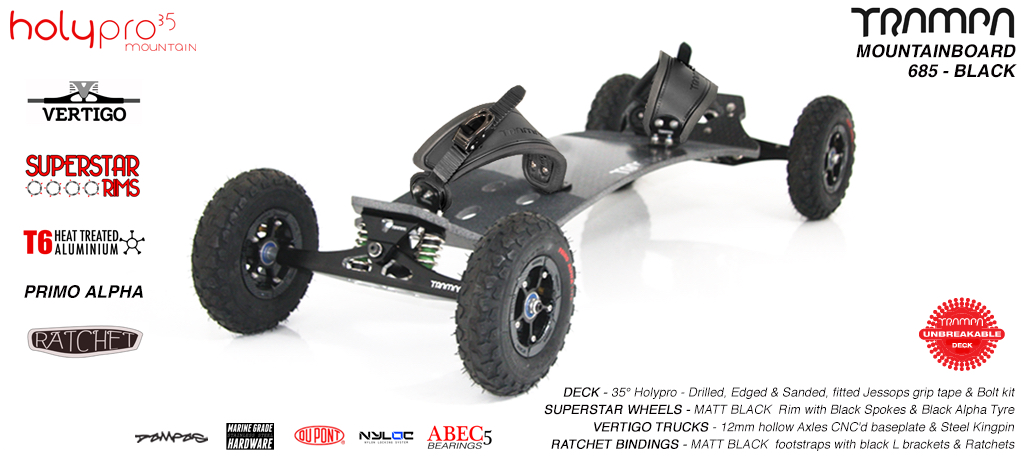 35º HOLYPRO TRAMPA deck on VERTIGO Trucks SUPERSTAR Wheels & RATCHET Bindings - 685 BLACK MOUNTAINBOARD