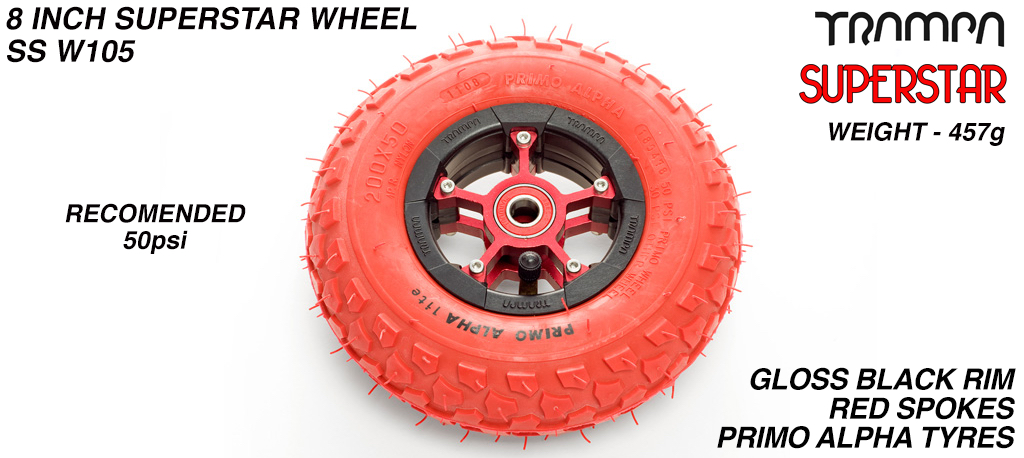 Superstar 8 inch wheels -  Black Gloss Rim with Red Anodised spokes and Red Alpha 8 inch Tyre