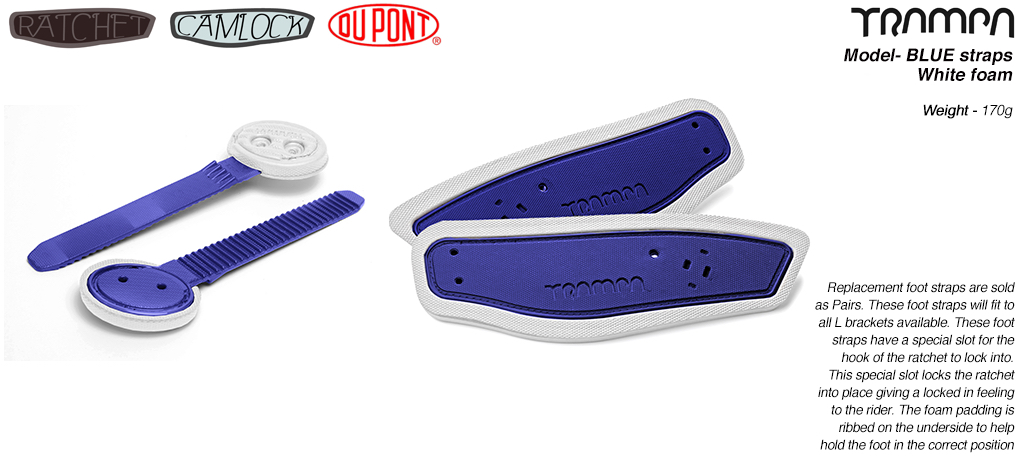 Ratchet Binding Footstrap & Ladder - Blue straps on White foam