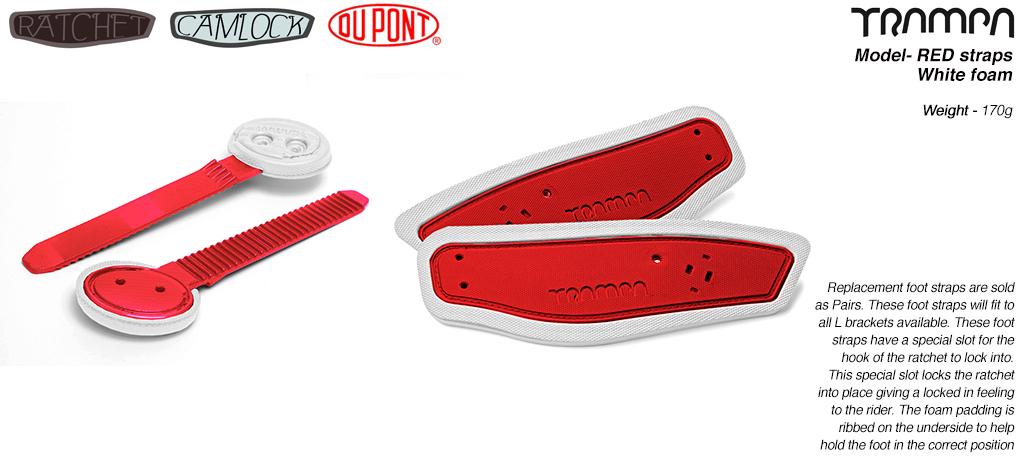 Ratchet Binding Footstrap & Ladder - RED straps on White foam