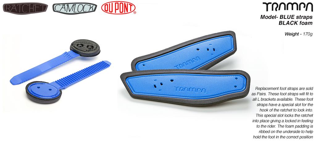 Ratchet Binding Footstrap & Ladder - BLUE straps on Black foam
