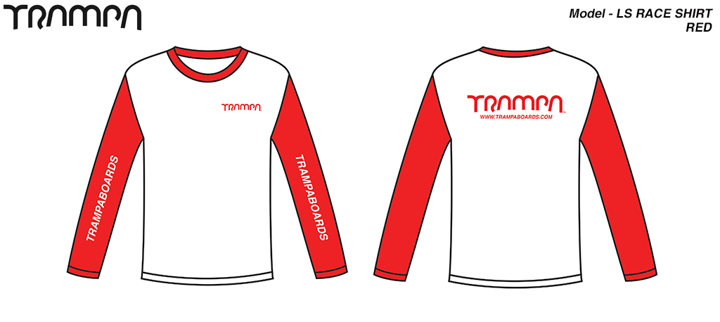 RED Fruits of the Loom Long Sleeve TRAMPA Race shirt Organically printed Red & White