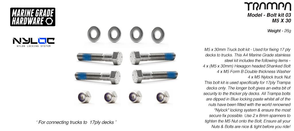 M5 x 30mm Truck bolt kit - Long