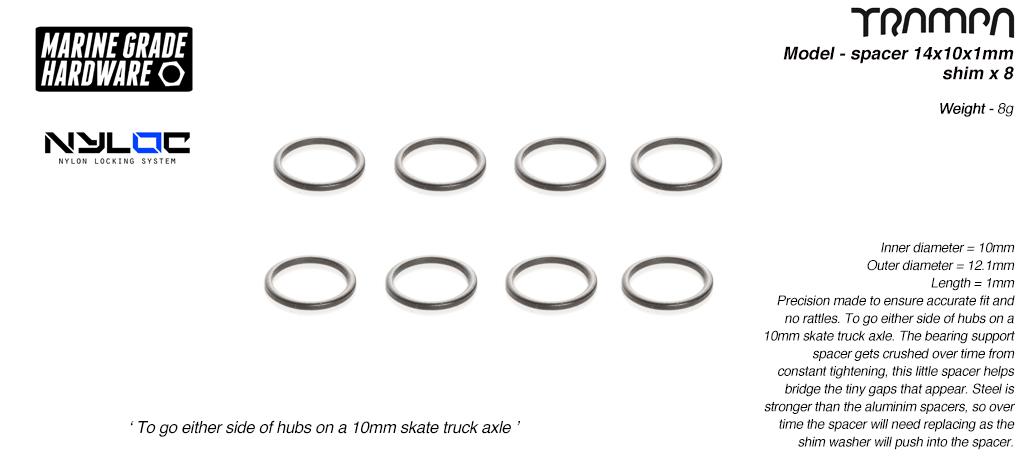 Shim spacer - used to bridge tiny gaps on 9.525mm axles - 9.525 (id) x 13.525 (od) x 1mm (wide) x8
