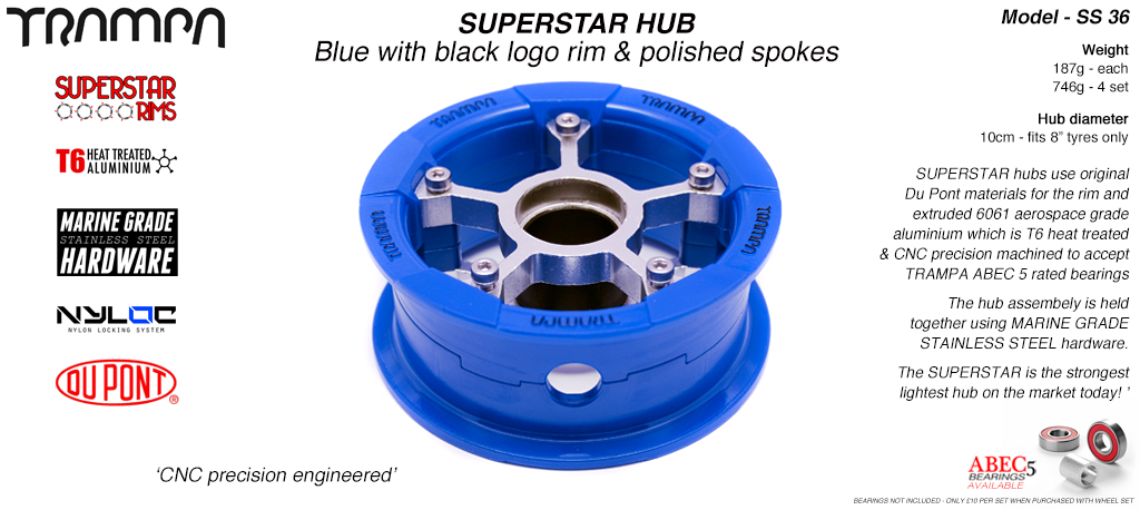 Superstar Hub - Blue Gloss & White logo Rim with Silver anodised spokes