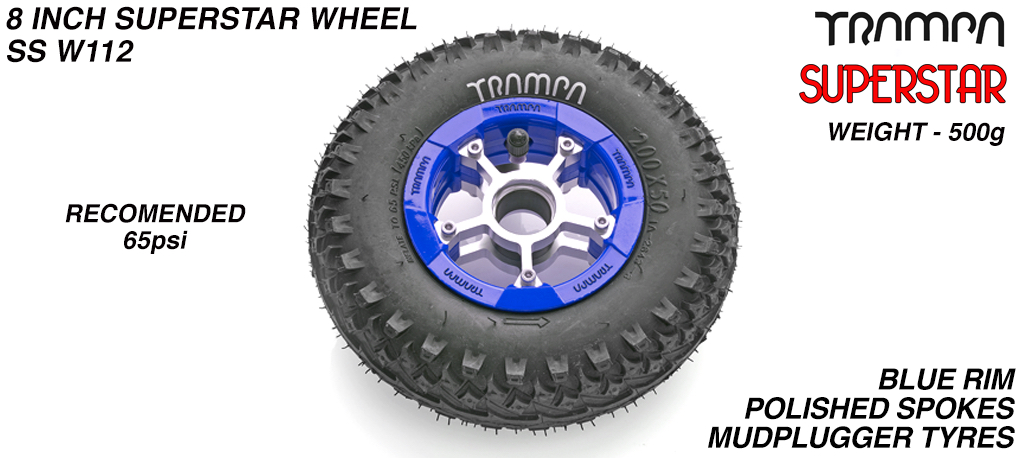 Superstar 8 inch wheels -  Blue & Black Logo Rim Silver Anodised spokes & Black MudPlugger 8 inch Tyre