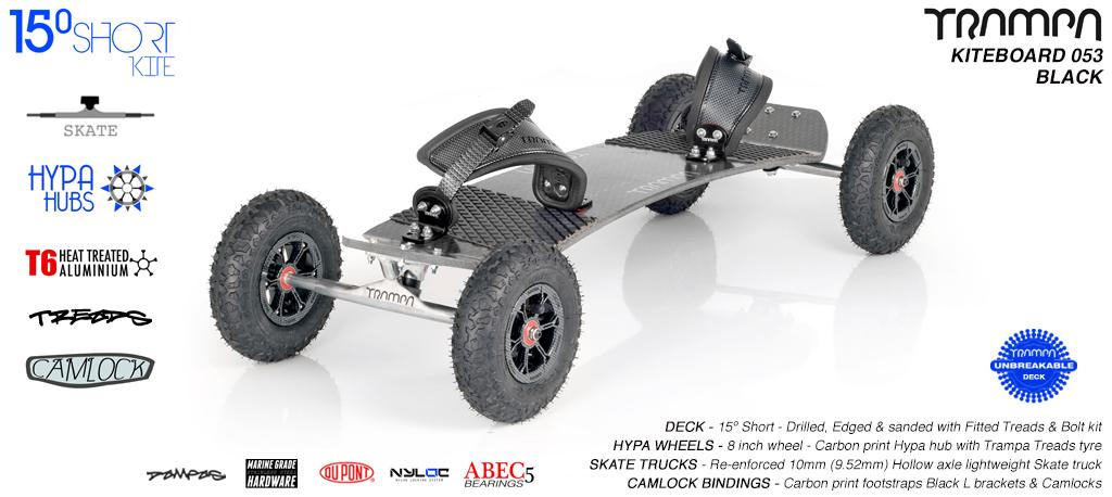 15° Short TRAMPA Deck on 10mm Hollow axle Skate trucks HYPA wheels & CAMLOCK Bindings - 053 BLACK KITEBOARD