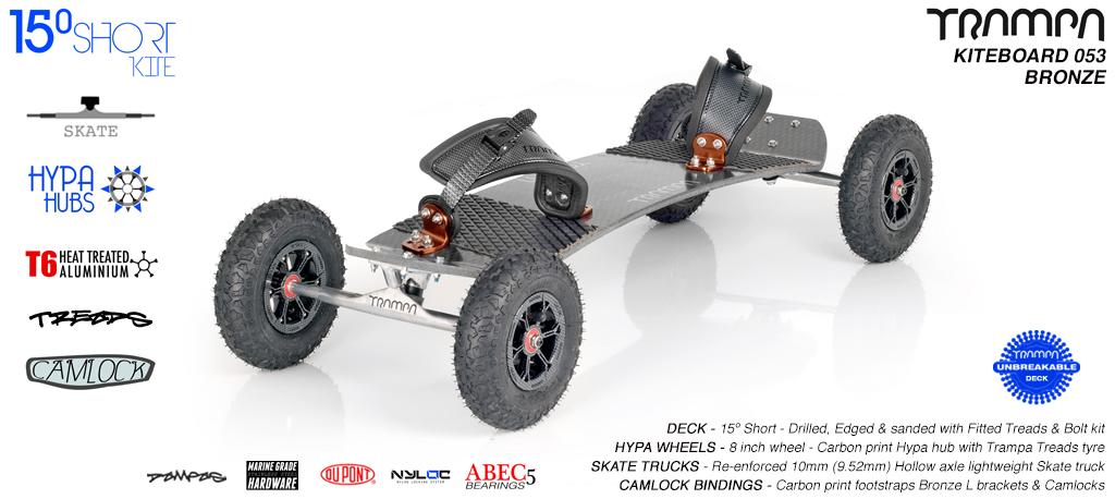 15° Short TRAMPA Deck on 10mm Hollow axle Skate trucks HYPA wheels & CAMLOCK Bindings - 053 BRONZE KITEBOARD