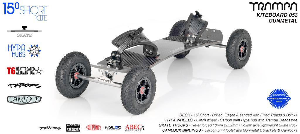15° Short TRAMPA Deck on 10mm Hollow axle Skate trucks HYPA wheels & CAMLOCK Bindings - 053 GUNMETAL KITEBOARD