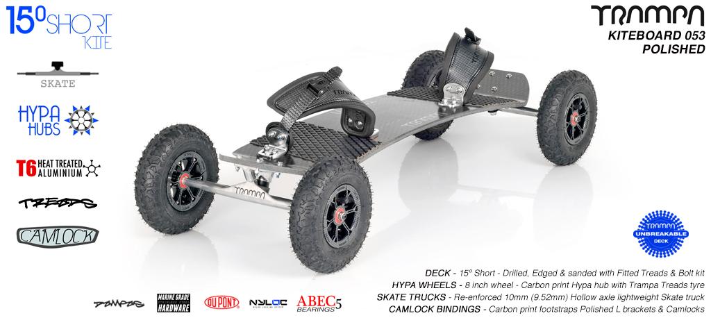 15° Short TRAMPA Deck on 10mm Hollow axle Skate trucks HYPA wheels & CAMLOCK Bindings - 053 SILVER KITEBOARD