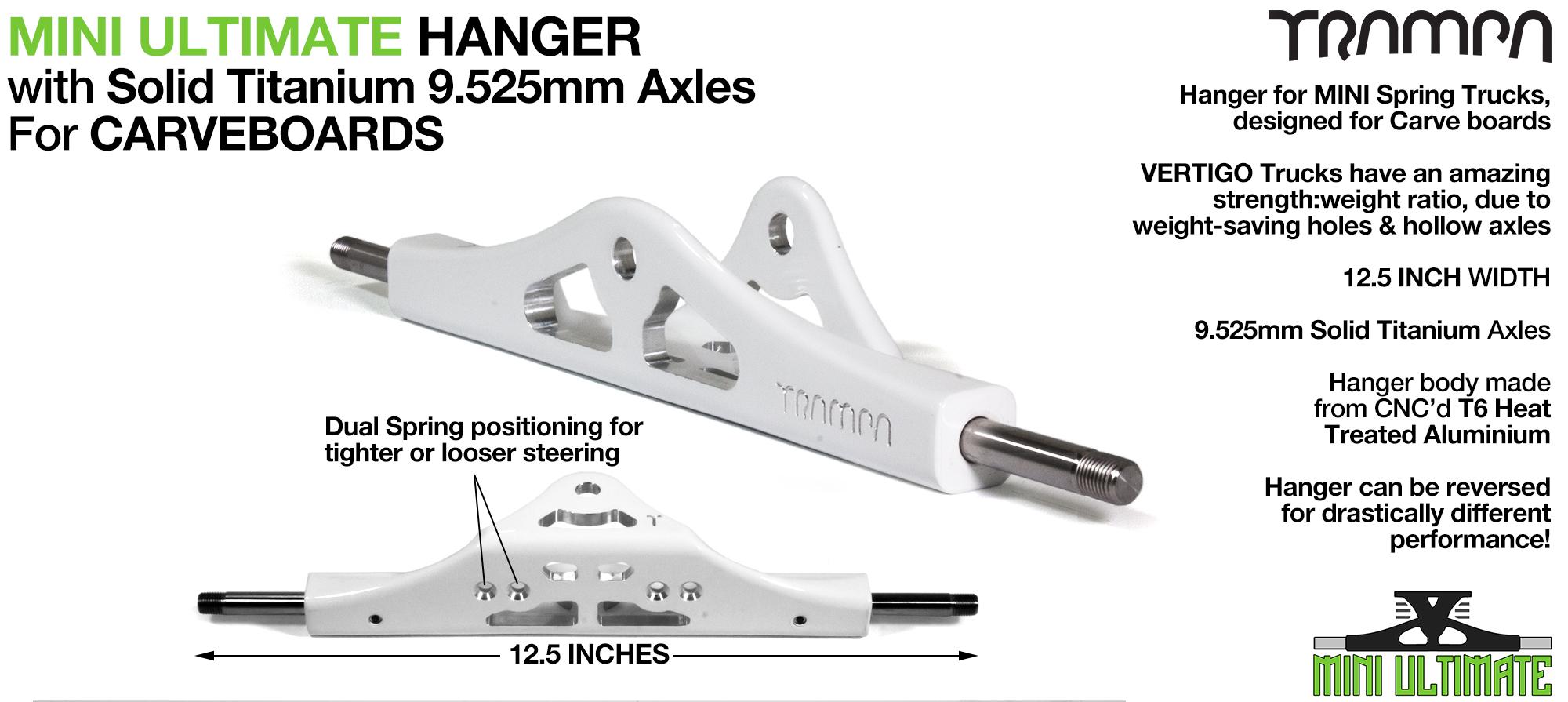 Mini ULTIMATE Hanger - 9.525mm TITANIUM Axles, Powder Coated White & CNC'd light