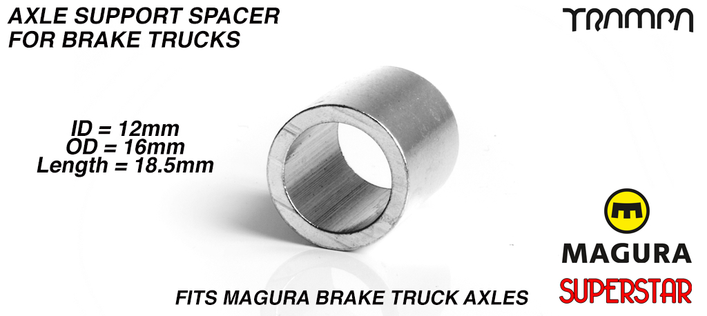 Axle support Spacer for Hangers with Brakes - 12 x 16 x 18.5mm - LATHED