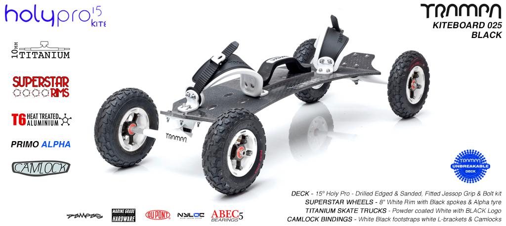 15° HOLYPRO TRAMPA Deck on 10mm TITAINIUM Axel Skate Trucks SUPERSTAR Wheels & CAMLOCK Bindings - 025 BLACK KITEBOARD