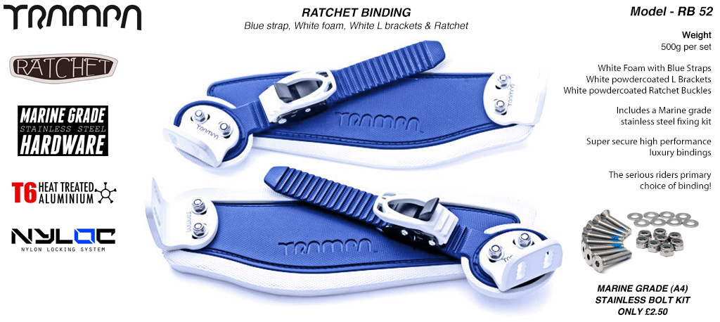 Ratchet Bindings - Blue straps on White Foam with WHITE L Brackets & Ratchets