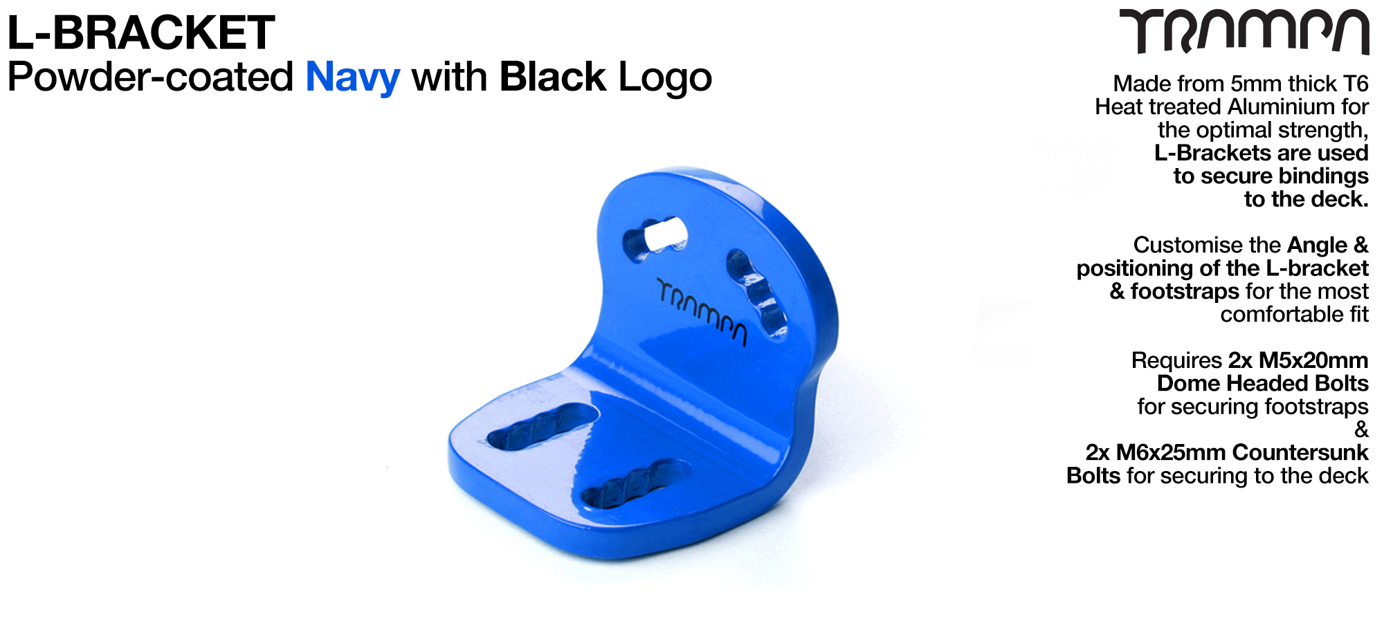 L Bracket - Powder coated BLUE with BLACK Logo