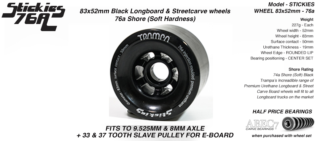 STICKIES Longboard & Street Carver Wheel Super High Rebound 83 x 52mm 76a STICKY BLACK