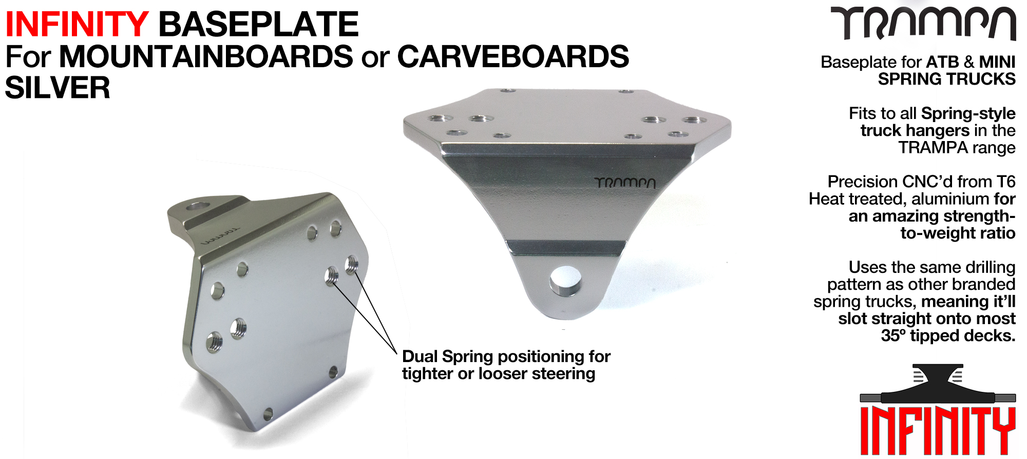 INFINITY Baseplate Silver - Extruded T6 Aluminum Anodised & CNC precision Milled