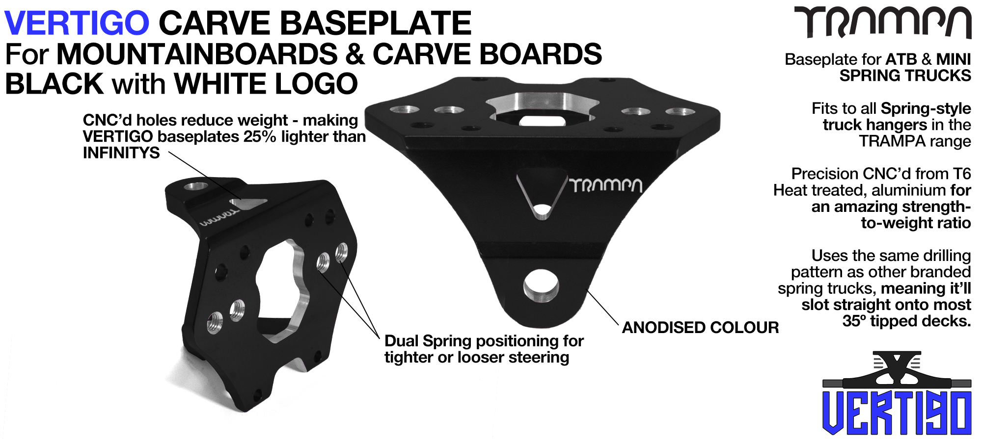 Carveboard VERTIGO Baseplate BLACK - T6 Aluminum Anodised - Silver logo