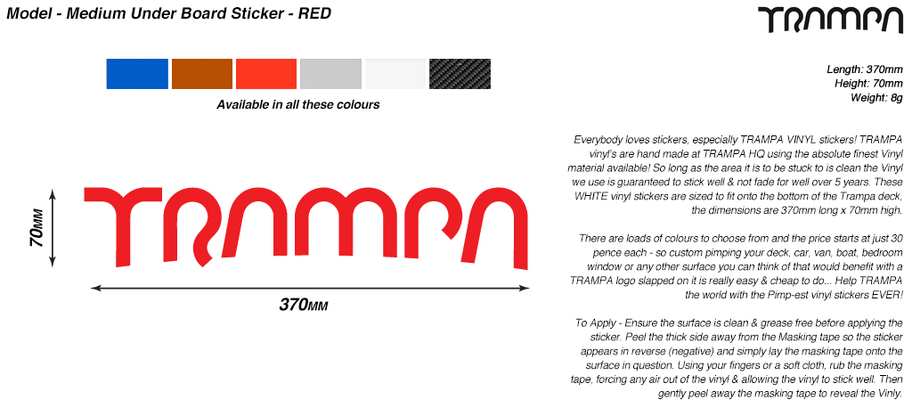 580mm Hand made TRAMPA Vinyl Sticker - RED