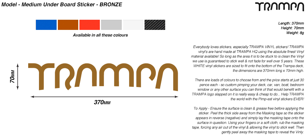 580mm Hand made TRAMPA Vinyl Sticker - BRONZE