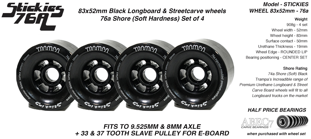 STICKIES Longboard & Street Carver Wheels - 83 x 52mm - 76a Soft Urethane BLACK x4