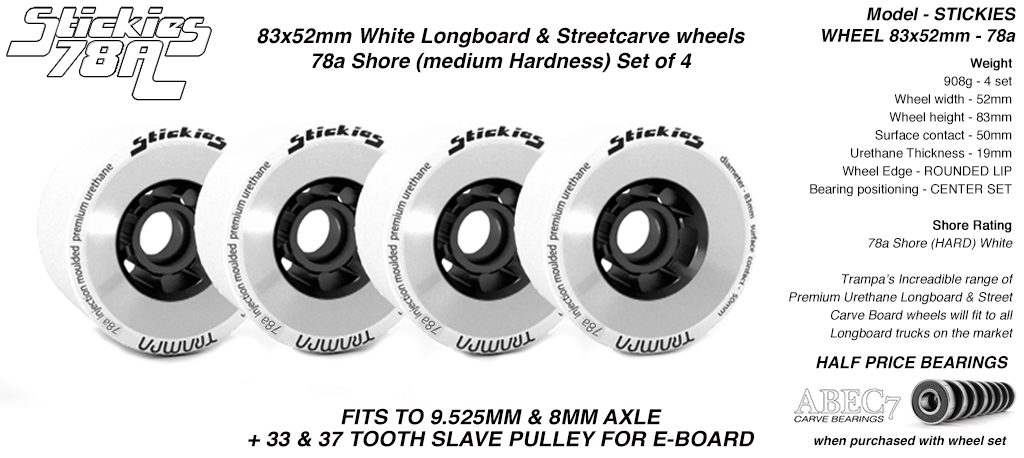 STICKIES Longboard & Street Carver Wheels - 83 x 52mm - 78a Regular Urethane WHITE x4