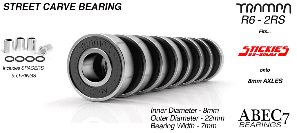 Carveboard Bearings - R6 2RS ABEC 7 -  9.525mm x 22.225mm x 7.14mm - BLACK x 8
