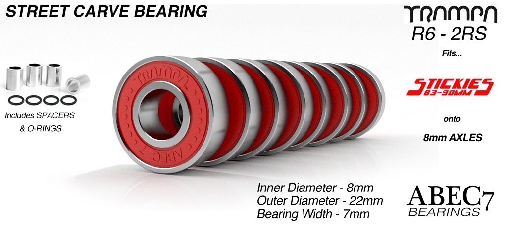 Carveboard Bearings - R6 2RS ABEC 7 - 9.525mm x 22.225mm x 7.14mm - RED x 8