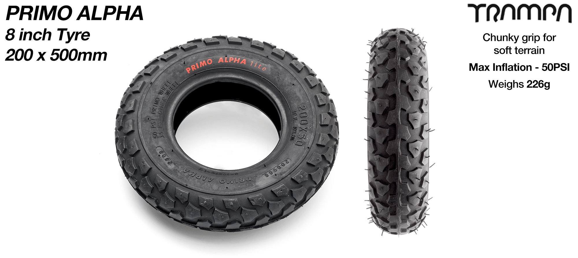 8 Inch BLACK PRIMO ALPHA Tyre- Premium 8 Inch All purpose Dirt Tyres