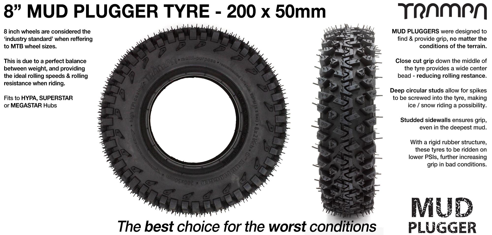 INNOVA MUDPLUGGER - 8 Inch Soft packed Dirt Tyre