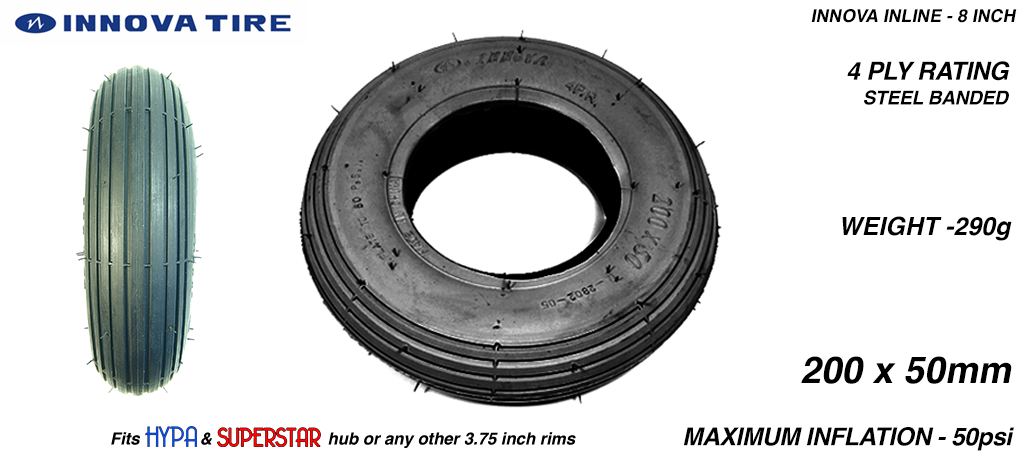 INNOVA INLINE - High Pressure Speed Tyre - 8 Inch BLACK