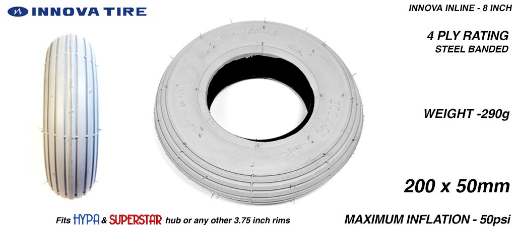 INNOVA INLINE - High Pressure Speed Tyre - 8 Inch GREY