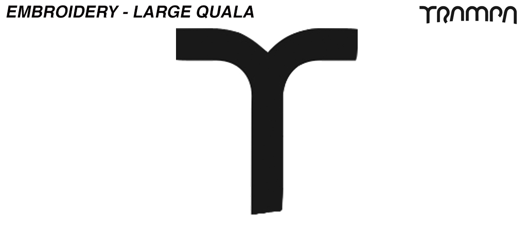 Embroidery - Large QUALA - T TRAMPA logo found on side of Hats