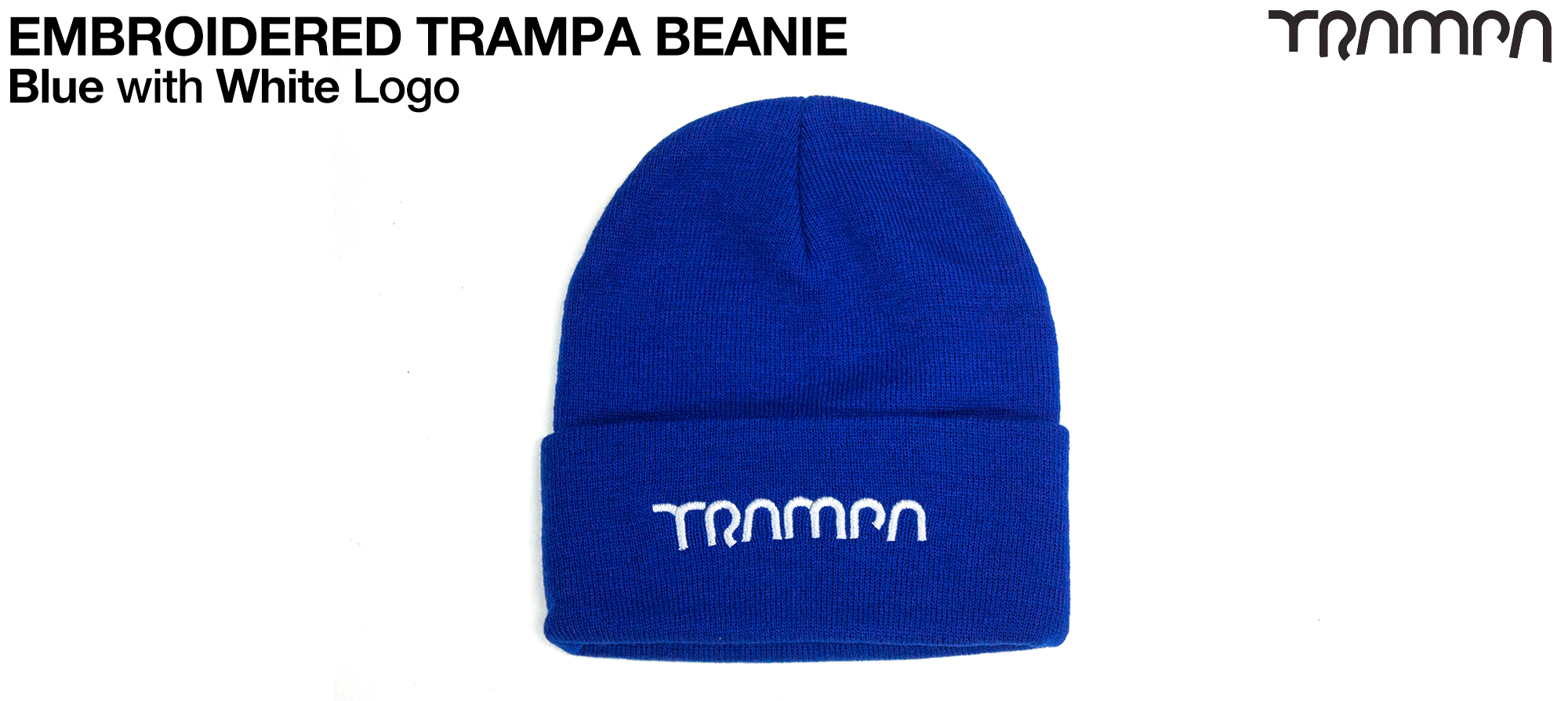 BLUE Wooli Hat with WHTE TRAMPA Embroidery - Double thick turn over for extra warmth
