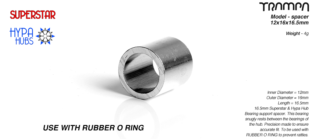 Internal Bearing support spacer used with 10mm O-RIng on 12mm axles - 12 x 16 x 16.5mm - LATHED
