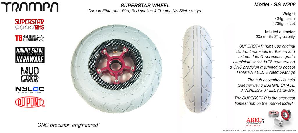 Superstar 8 inch wheels -  Gloss White Rim with Black Anodised spokes & Grey SLICK KK 8 inch Tyre