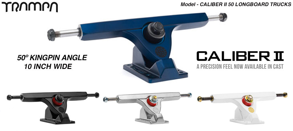 CALIBER II 50º Baseplate mount & 10 inch wide hanger Longboard Trucks - For fast Carvy turns!