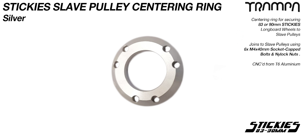 SILVER Aluminium Centring Ring to Pulley Wheel for connecting 33 & 37 tooth pulleys to 83 & 90mm Longboard Wheels