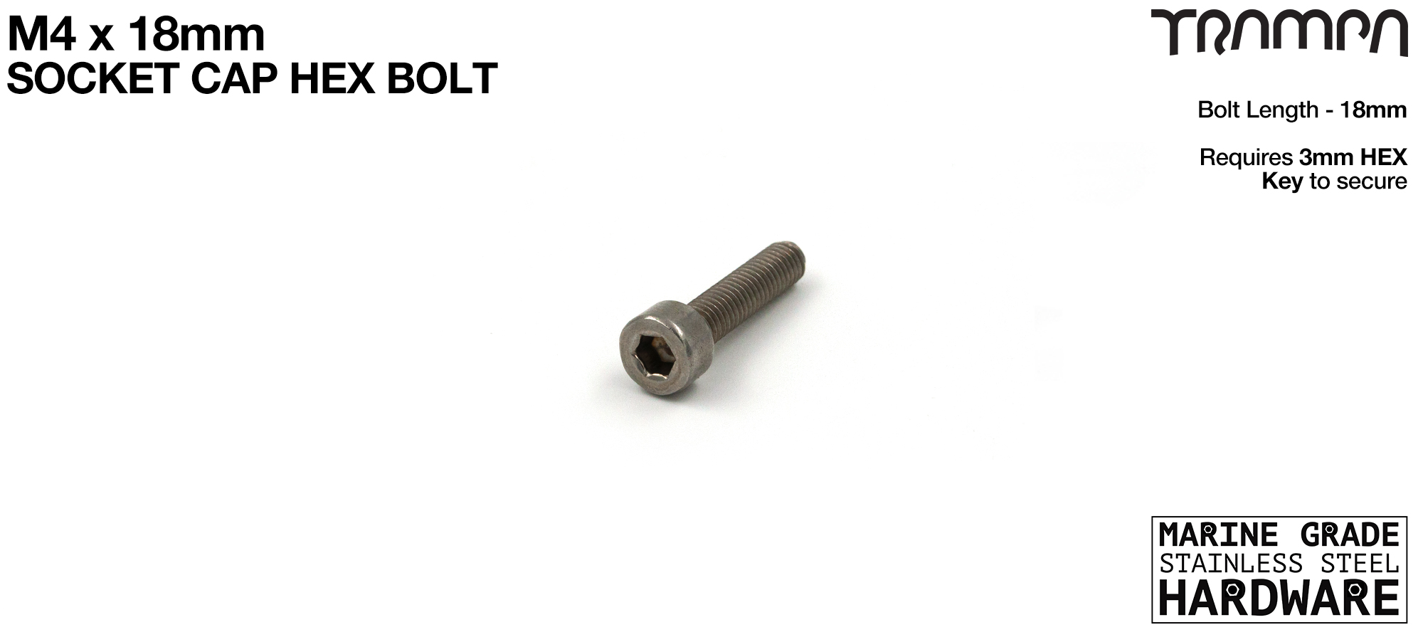M4 x 18mm Socket Capped Head Bolt ISO 4762 Marine Grade Stainless Steel