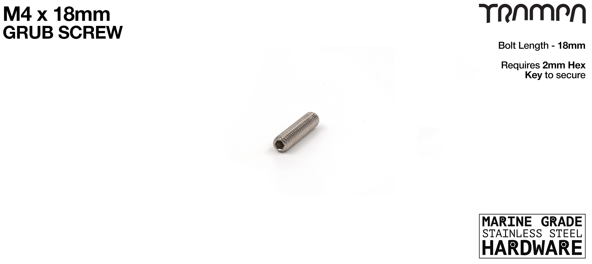 M4 x 18mm Grub Screw Marine Grade Stainless Steel - Connects to 80mm HEX Spacer