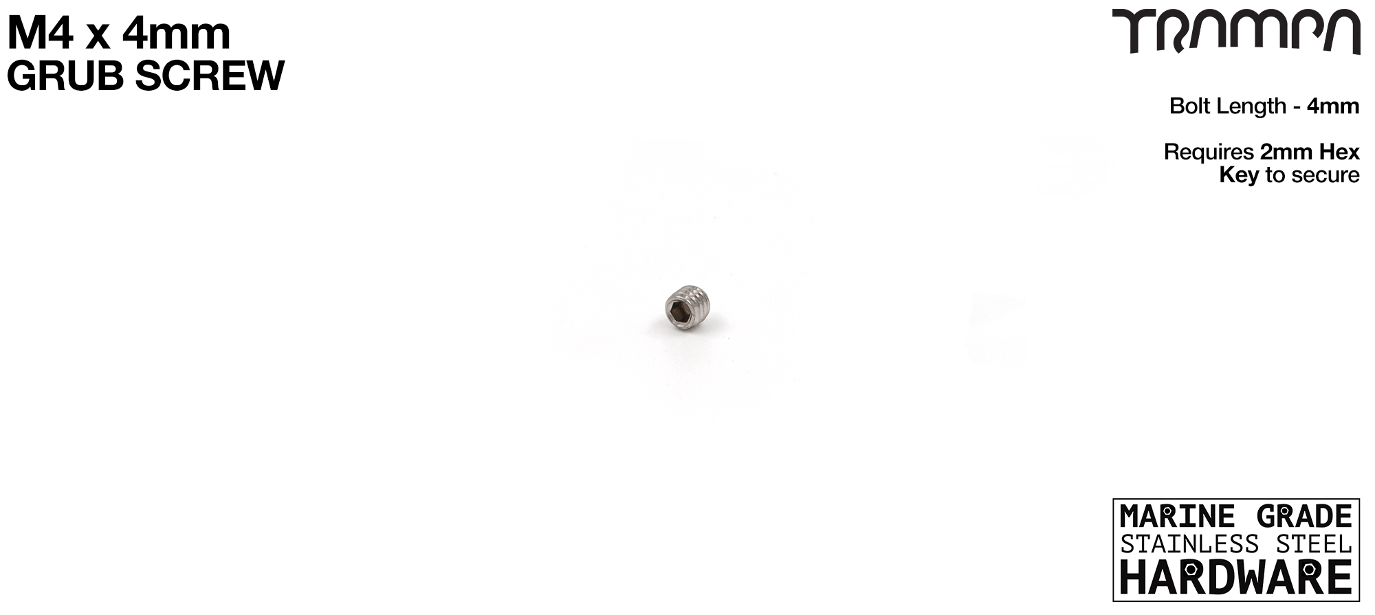 M4 x 4mm Grub Screw M4 x 4mm Motor Pulley Grub Screw - Connects the Motor Pulley onto the Motor Axle Shaft