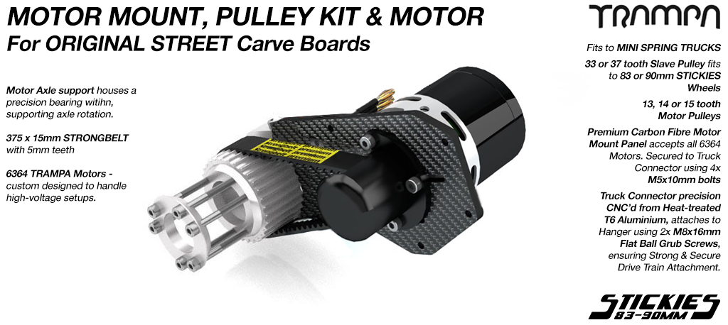 SINGLE MOTOR Original STREET Carver complete Motormount & Pulley Kit