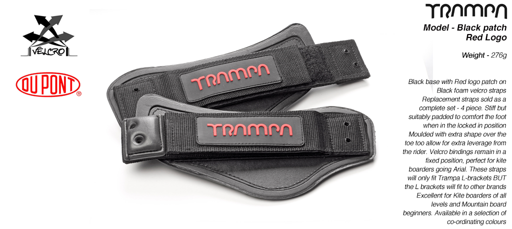 Velcro FootStraps -  Black base & Red logo patch Velcro Footstraps
