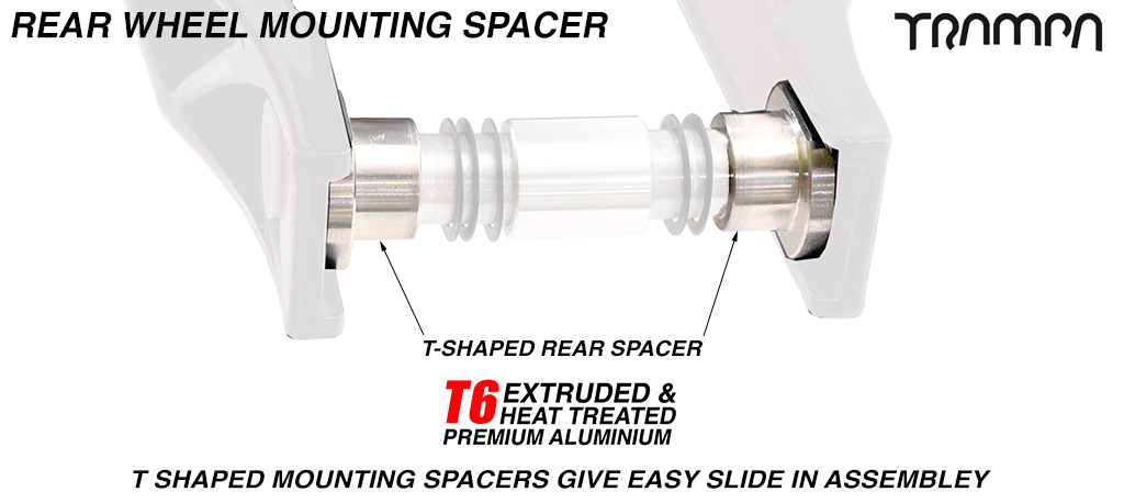 Special grooved T Shaped Rear Wheel Mounting axle Spacer for Scooter - 6061 T6 Aluminum CNC Machined to perfection