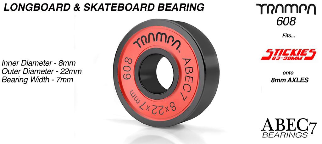 Longboard & Skateboard Bearings (8 x 22 x 7mm) RED sidewalls with Black Logo ABEC 7 608