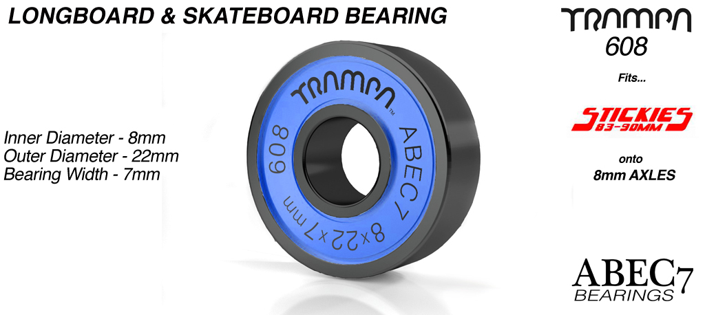 Longboard & Skateboard Bearings (8 x 22 x 7mm) BLUE sidewalls with Black Logo ABEC 7 608